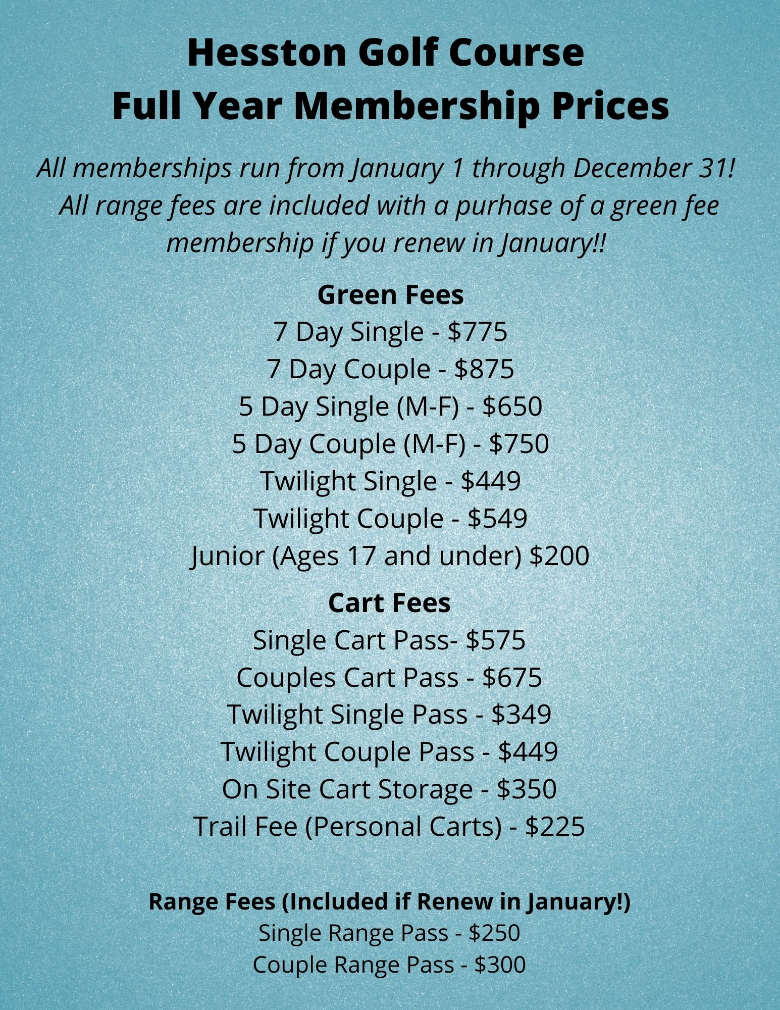 2021 Membership Prices