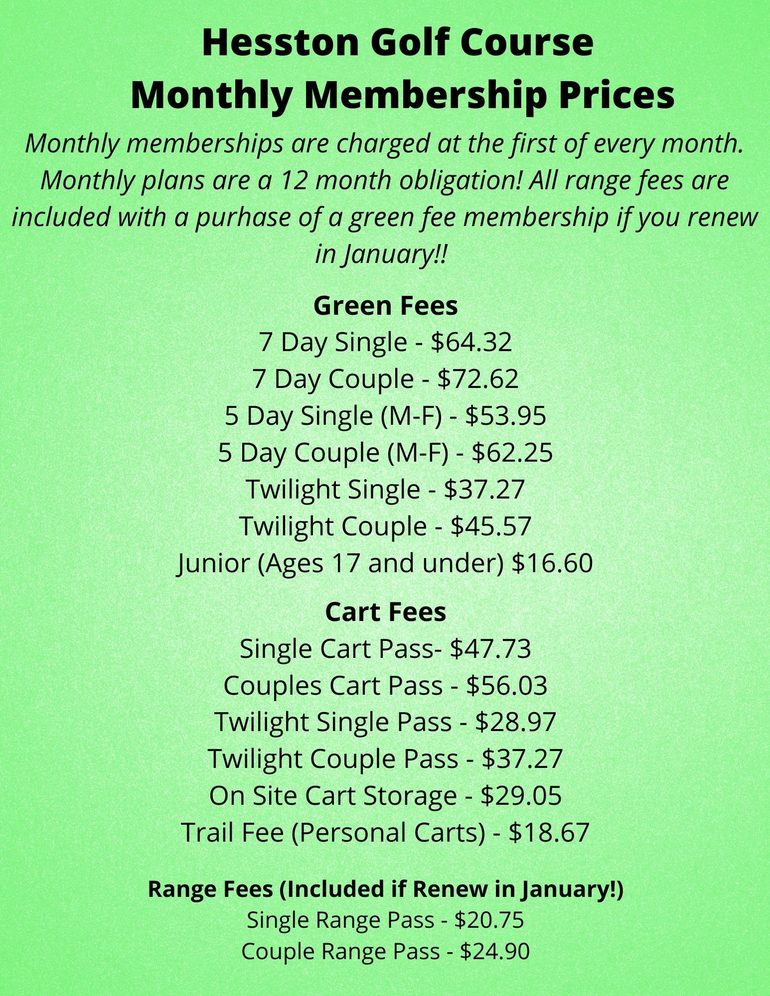2021 Monthly Membership Prices